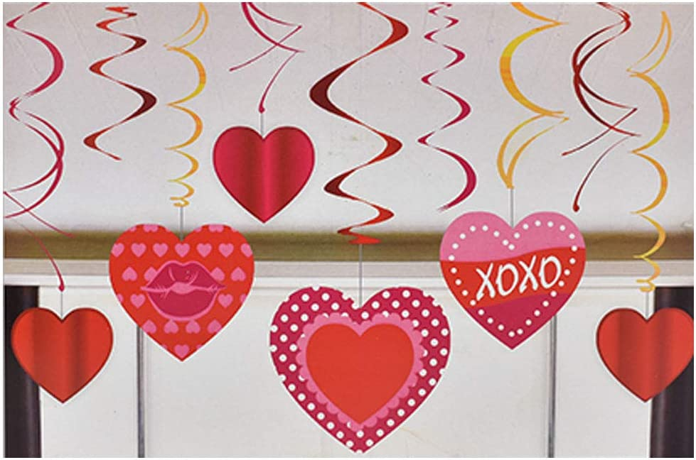 Colorful Valentine's Day Heart Shape Hanging Swirl Decorations - Party Decor Supplies School Classroom Dance Decor - Pack of 12