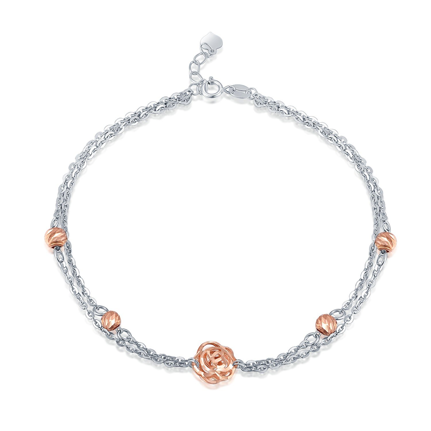 MaBelle 14K Rose and White Gold Diamond Cut Rose Flower Beaded Double Chain Anklet (9.25'')