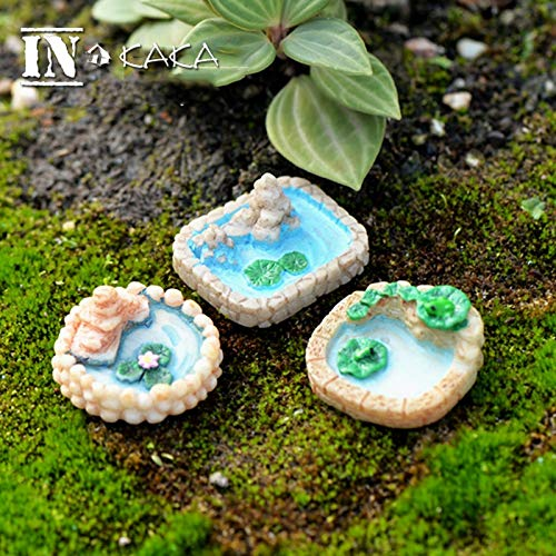 Kiartten House,Chair,Boat&Outdoors - Resin Mini Lotus Pond with Hill Micro Fairy Garden Figurines Miniatures/Terrarium Dollhouse Decor Ornaments DIY Accessories 1 Pcs