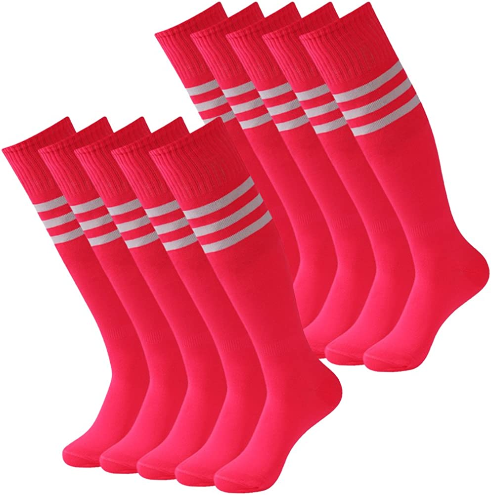 3street Unisex Knee High Triple Stripe Athletic Soccer Tube Sock 2//6//10 Pairs