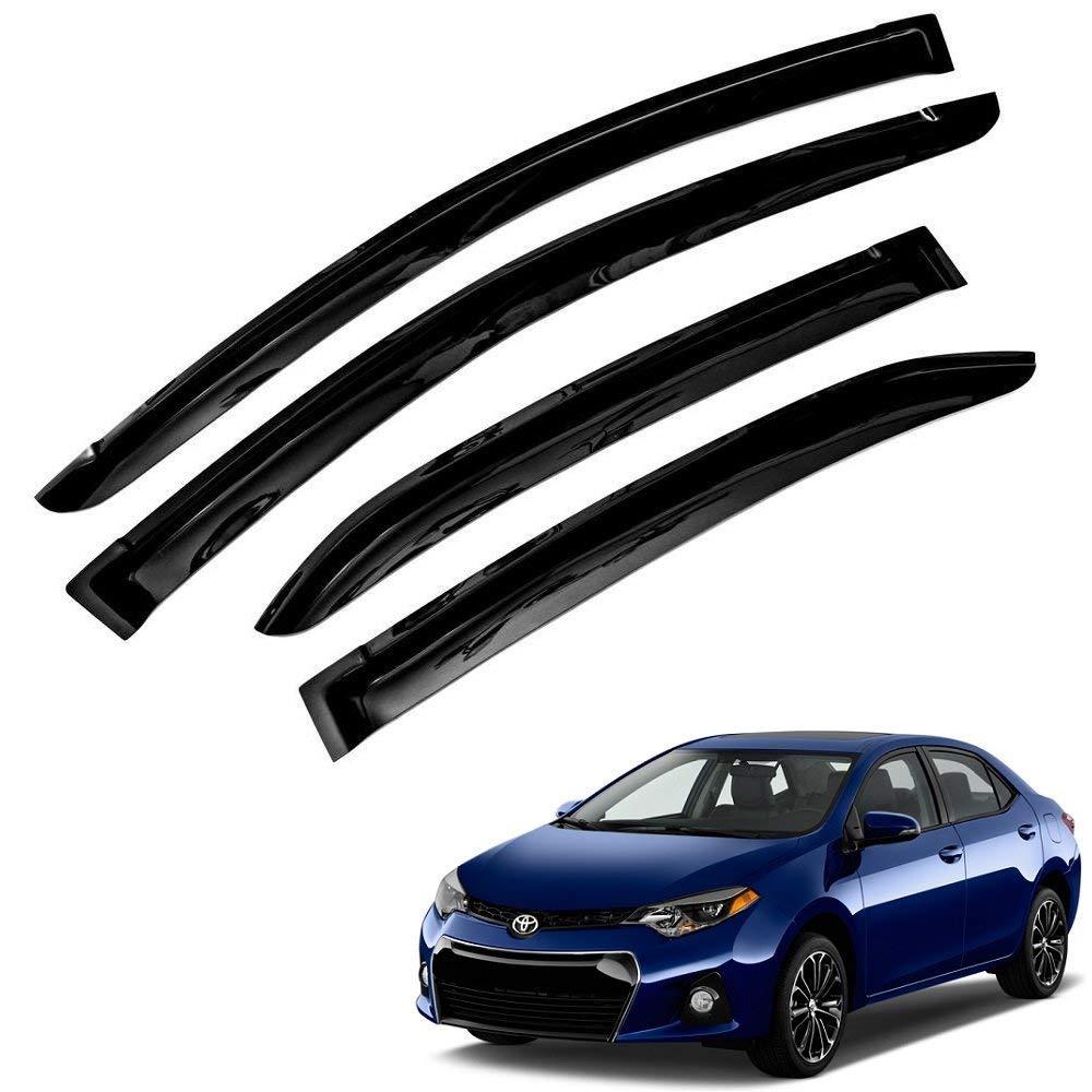 Atomsonic WV_14-18_Corolla Black Sun/Rain Guard Vent Shade Window Visor Wind Deflector for 2014-2018 Toyota Corolla Tape-On 4pc, 4 (Non-Carb Compliant)