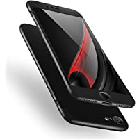 Cekuonline iPhone 7 Kılıf 360 Derece Ön Arka Korumalı Sert Rubber Siyah Kapak
