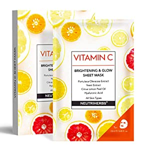 Neutriherbs Vitamin C Face Facial Mask Sheet Silk Mask Sleep Mask - Brightening Moisturizing Anti Aging and Wrinkle Improve Skin's Elasticity Hydrates Skin 5pcs/box