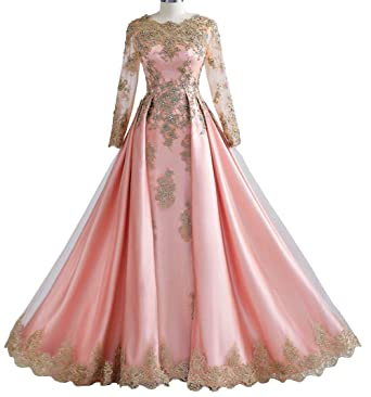 3063805ecd56 Dreammade Women's Muslim Beaded Gold Lace Long Sleeve Pink Wedding Dresses  Bridal Gowns ...