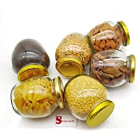 Satyam Kraft Pack of 6 Matka Shape Glass Jar and Container (400 ml) with Rust Proof Air Tight Lid