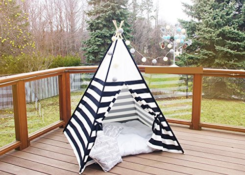 (Kids Teepee Black and White Stripes Combo outside poles Monochrome Tipi with Poles Large Playhouse Play Photo prop Indoor Tent Small Canvas Teepee)