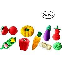 toymytoy 24pcs frutas verduras goma de borrar goma de borrar en 3d papelería regalo para niños estilo al azar