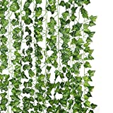 DJSBZ 12 Pack/Per 82 inch Artificial Plant Fake Hanging Vine Ivy Leaves Greenery Garland for Wedding Backdrop, Jungle Decorations, Safari Party Supplies, Farmhouse Wreath