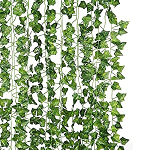 DJSBZ 12 Pack/Per 82 inch Artificial Plant Fake Hanging Vine Ivy Leaves Greenery Garland for Wedding Backdrop, Jungle Decorations, Safari Party Supplies, Farmhouse Wreath 15