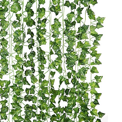 (DJSBZ 12 Pack/Per 82 inch Artificial Plant Fake Hanging Vine Ivy Leaves Greenery Garland for Wedding Backdrop, Jungle Decorations, Safari Party Supplies, Farmhouse Wreath)