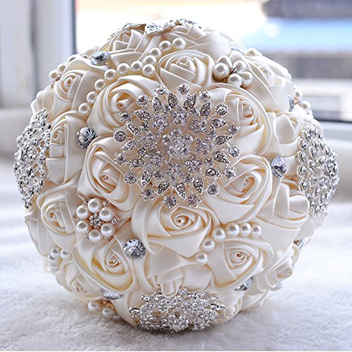 Wedding Flowers Bridal Bouquets Elegant Pearl Bride Bridesmaid Wedding Bouquet Crystal Sparkle (beige)