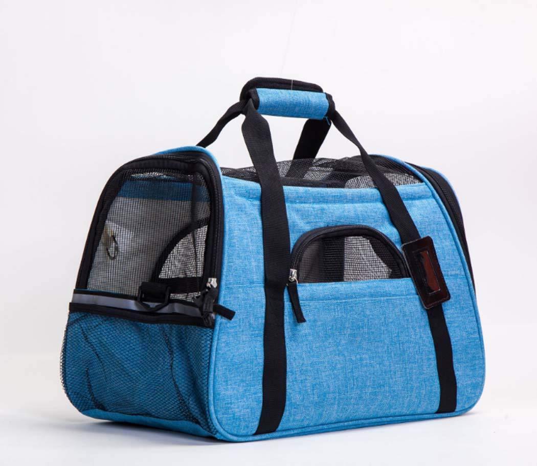bluee Pet Carrier for Dog and Cat,Soft Sided Collapsible Travel Bags for Small or Medium Animal,Durable,bluee