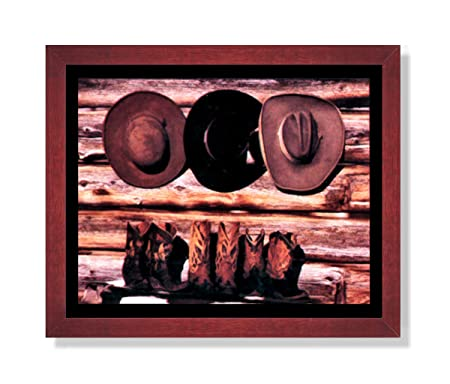 Old Cowboy Boots and Hats Western Rodeo Picture Framed Art Print
