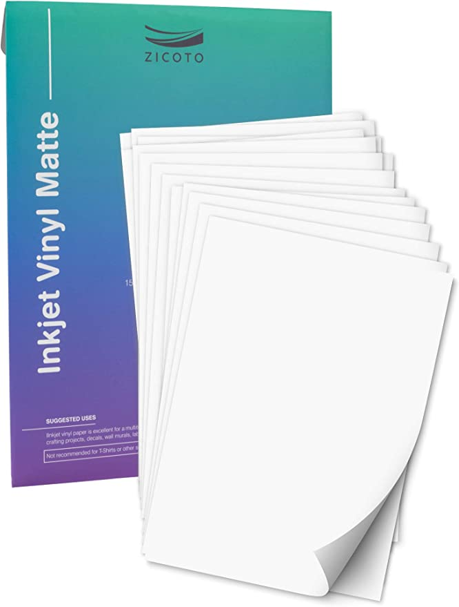 Premium Printable Vinyl Sticker Paper for Your Inkjet Printer - 15 Matte White Waterproof Decal Paper Sheets - Dries Quickly and Holds Ink Beautifully