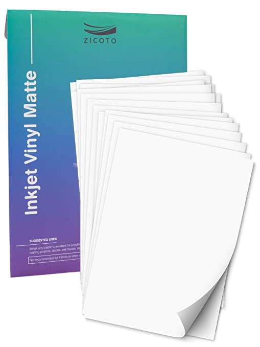 graphic relating to Printable Vinyl Sticker referred to as Quality Printable Vinyl Sticker Paper for Your Inkjet Printer - 15 Matte White Watertight Decal Paper Sheets - Dries Instantly and Retains Ink Flawlessly
