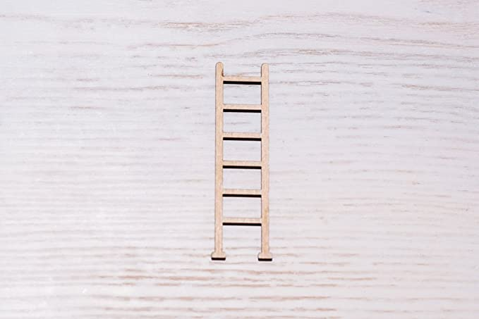 Juego de 10 escaleras de madera contrachapada corte láser, corte de madera, figura de madera contrachapada, adornos de madera en forma de manualidades, decoración sin pintar (EW0224), 7 cm: Amazon.es: Hogar