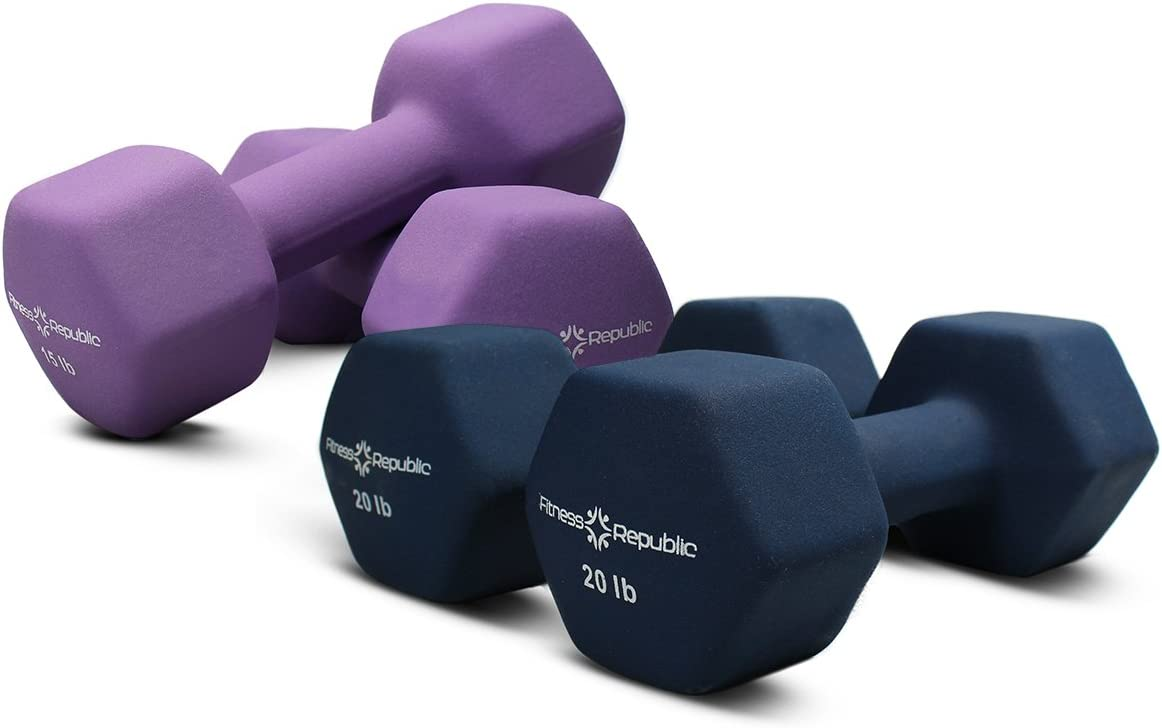 Fitness Republic Neoprene Dumbbell Combos – Non-Slip, Hex Shape, Free Weights Set Muscle Toning, Strength Building