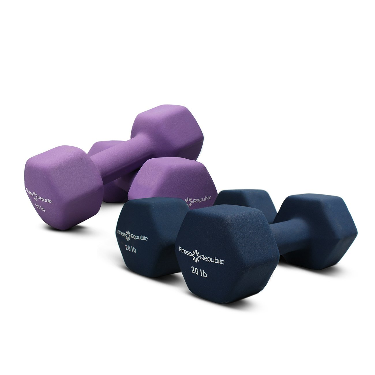Fitness Republic Neoprene 2 Dumbbell Pairs Combo (15lbs & 20lbs) by Fitness Republic