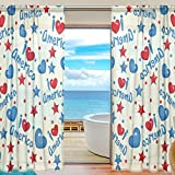 Vantaso Sheer Curtains 78 inch Long America Heart for Kids Girls Bedroom Living Room Window Decorative 2 Panels