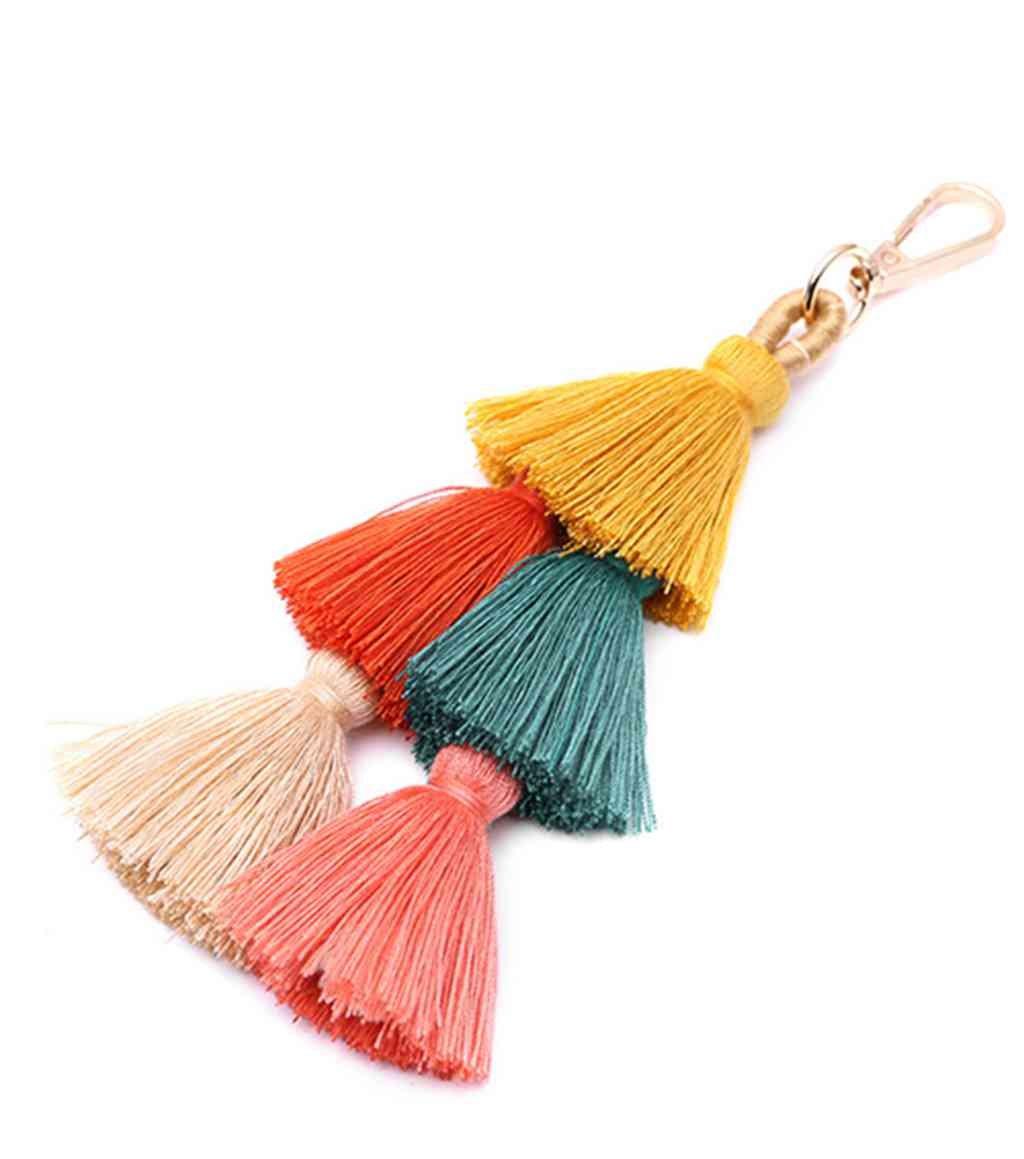 Joan Nunu Tassel Bag pendant charm keychain for Women colorful charm keyring for Decoration,8''