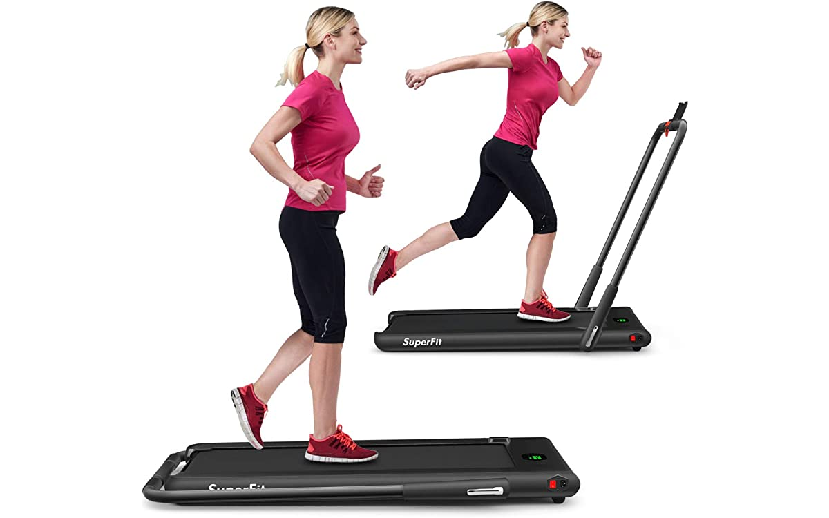 GYMAX Folding Treadmill, 2 in 1 Under Desk Electric Running