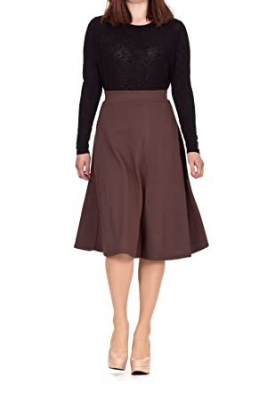 Everyday High Waist A-line Flared Skater Midi Skirt (L, Brown)