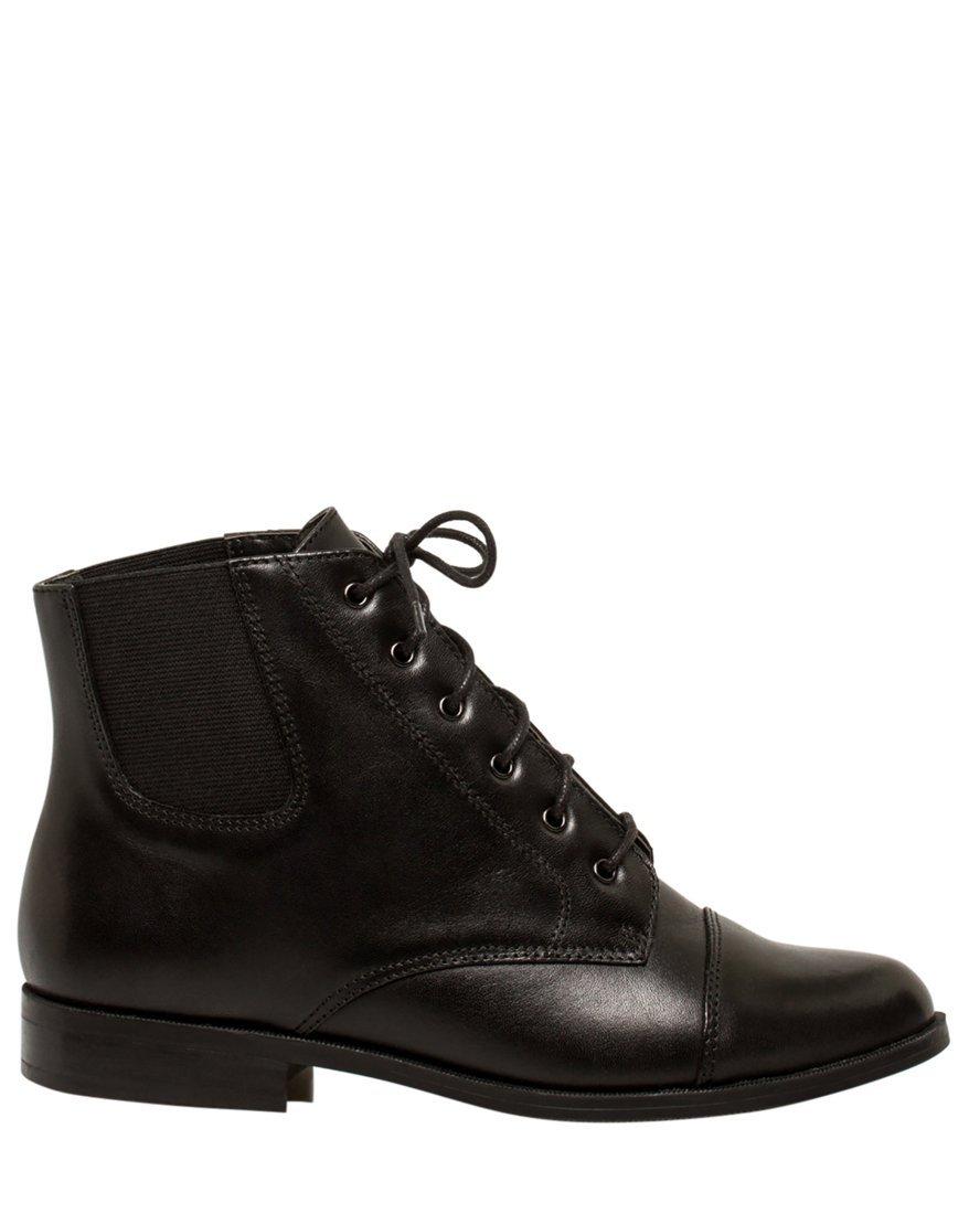 LE CHÂTEAU Women's Leather Lace-up Ankle Boot,6,Black