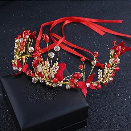 GTVERNH-La Novia Boda Boda Boda Chino Joyas y Flores de Color Rojo Bordado Artesanal