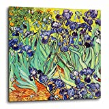 3dRose dpp_155630_3 Irises by Vincent Van Gogh 1889 Purple Flowers Iris Garden Copy of Famous Painting by The Master Wall Clock, 15 by 15-Inch