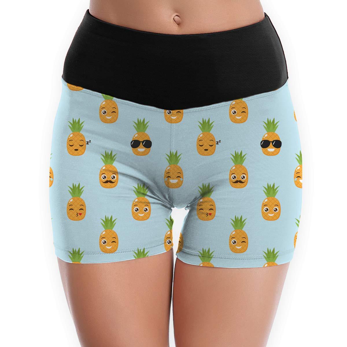 TTBYOGA Cute Pineapple Pattern Womens Tummy Control Yoga Shorts Exercise Gym Jogger Capri Legging
