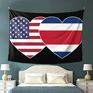 GONGHE Costa RICA USA Twin Flag Tapestry Wall Hanging 3D Printing Blanket Wall Art for Living Room Bedroom Home Decor (80x60In)