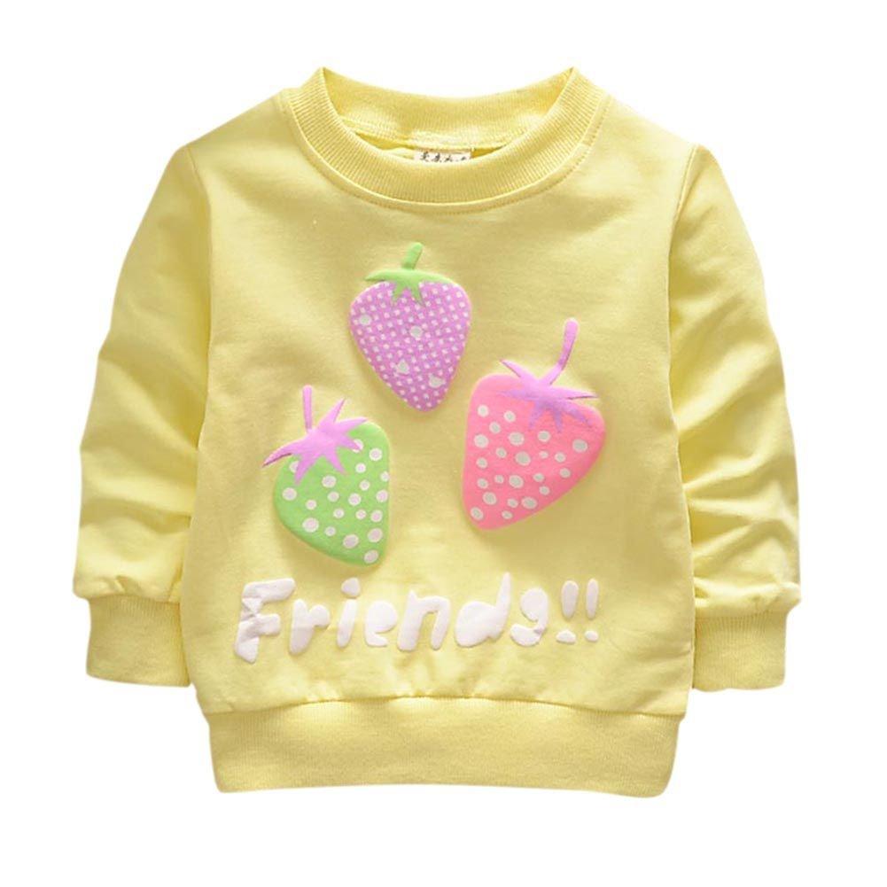BOBORA Bambine Ragazze Manica Lunga Primavera Autunno T-Shirt Fragola Ciliegia Stampa Felpa