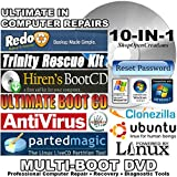 10 in 1 Ultimate Hiren's Computer Repair Multi-Boot DVD - Computer Rescue - Virus Removal - Data Recovery - Windows Password Reset - Backup Clone - Support Windows 7, Vista, XP and 2000