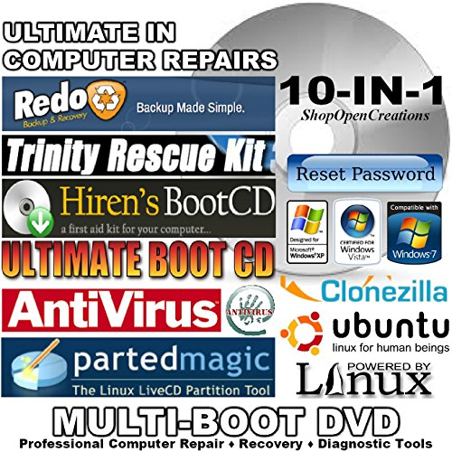 10 in 1 Virus Removal Rescue Bootable DVD - Bonus Professional Computer Repair and Anti-Virus Kit Included! - Support Windows 7, Vista, XP and 2000