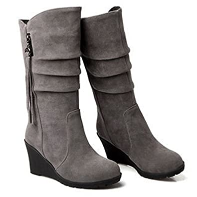 6e8ef956964 YING LAN Wedges Knee High Boots Women Faux Suede Pull On Round Toe Winter  Wide Mid
