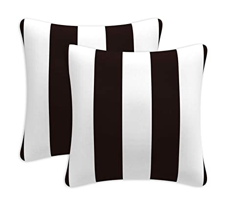 Decorative Outdoor Pillows With Insert Black Stripe Pattern Patio Accent Pillows Throw Covers 18x18 Inch Square Cushions For Patio Furniture