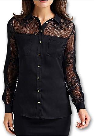 Guess - Camisas - para Mujer Negro L: Amazon.es: Ropa y accesorios