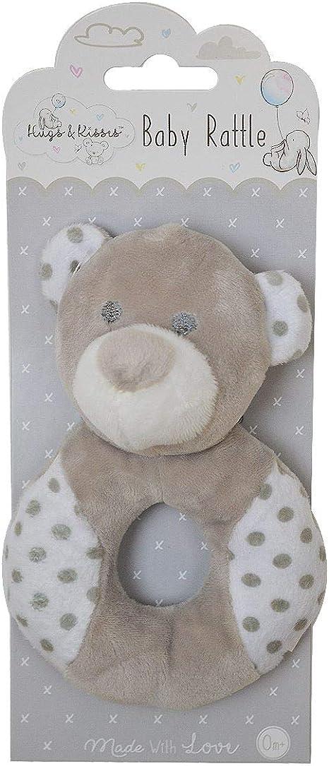 Baby Girl Boy Rattle Pink Grey Blue Bunny Teddy Bear Soft Plush Newborn Babies