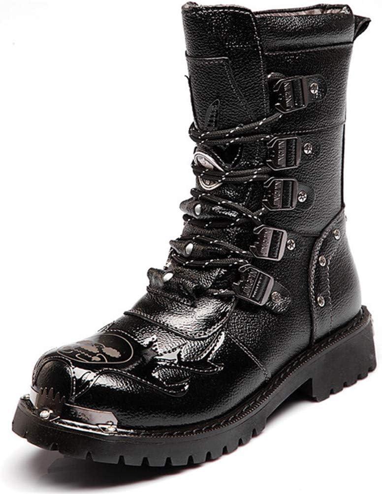 LXLLY Botas para Hombre Martin Botas de Cuero Genuino Ejército Militar Impermeables Botas Transpirables Motocicleta gótica Punky Redondo Botas Martin Botas de tacón Medio,43