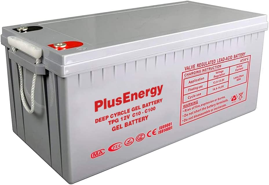 wccsolar.es Bateria Solar AGM Y Gel 12V PlusEnergy 150AH 250AH para instalación Solar Ciclo Profundo (250AH 12V AGM)