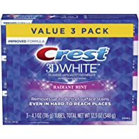 Crest 3D White Toothpaste Radiant Mint (3 Count of 4.1 oz Tubes), 12.3 oz (Packaging May Vary) New 1 Set
