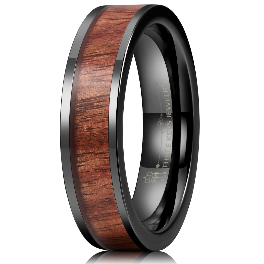 Three Keys Jewelry 6mm Black Ceramic Wedding Ring with Real Koa Wood Inlay Flat Top Wedding Band Engagement Ring Comfort Fit Size 11