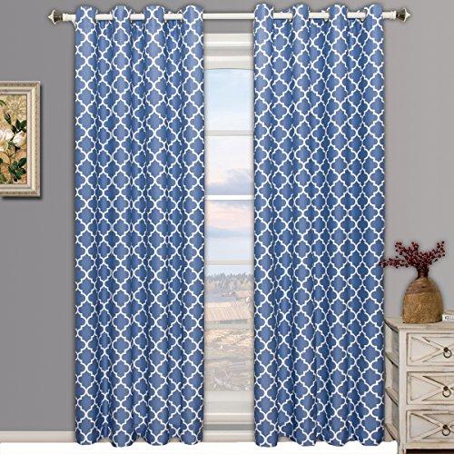 Meridian Periwinkle Grommet Room Darkening Window Curtain Panels, Pair / Set of 2 Panels, 52x108 inches Each, by Royal Hotel (Window Bedding Panel)