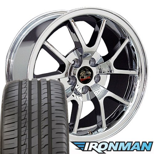 (OE Wheels 18 Inch Fits Ford Mustang 1994-2004 FR500 Style FR05B Chrome 18x9 Rims Ironman iMove Gen2 Tires SET)