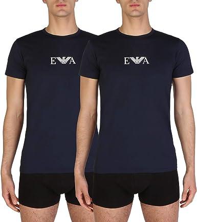 Emporio Armani Hombre 2 Pack camiseta de algodón stretch, Azul ...