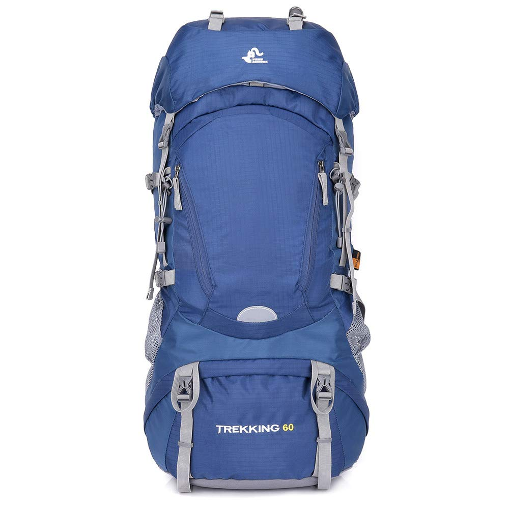 TechCode Hiking Backpack, 60L Adult Trekking Backpack Rucksack Camping Survival Backpack Men's Ladies Large Capcity Daypack with Rain Cover for Hiking, Mountaineering, Riding,Traveling Sports(Blue)