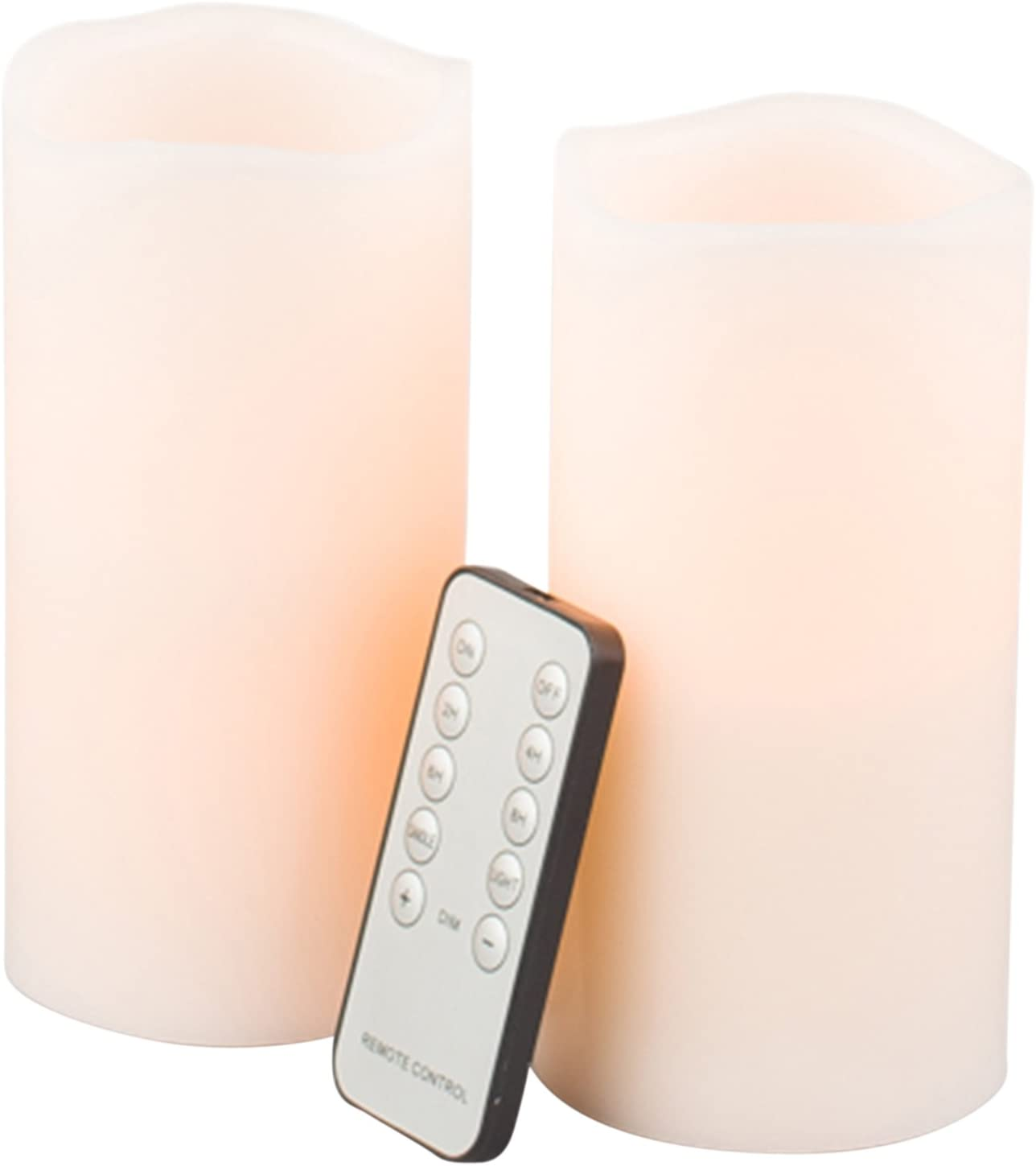 Gerson 2-Piece 6-Inch Flameless LED Candle Set with Universal Remote Control
