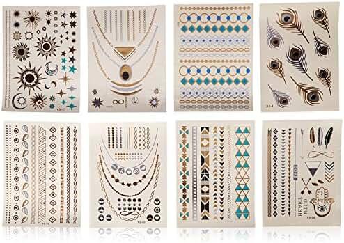 New Home Innovations, Metallic Temporary Tattoos, Flash Tattoos, 8 Sheets, 150+ Designs Temp Tattoos