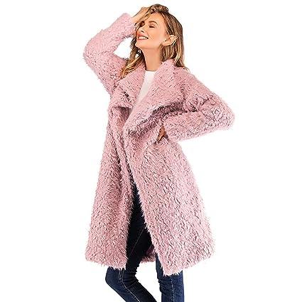Btruely Abrigo de Invierno Mujer, Abrigos Manga Larga Chaqueta de Lana Suelta de Gran tamaño