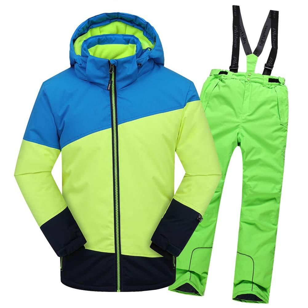 Top+pantalon Vert 7-8 ans  hauteur recomhommedée 130-140cm LPATTERN Enfant Garçon Fille Ensemble de Ski Coupe-Vent Combinaison Unisexe de Ski Imperméable Chaud épais 2PCS 3-13ans